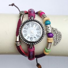 Medley leather and cord friendship bracelet watch decorated with trinkets | Be Charmed