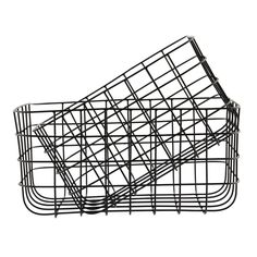Set of 2 Simple Black Wire Storage Baskets by House Doctor at Design Vintage.
