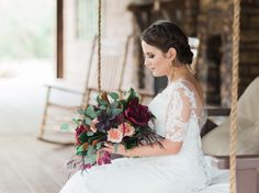 Stephanie's bridals taken at Big Sky Barn on the back porch | Picture this Forever Photography