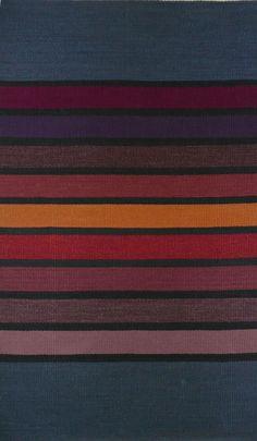 Winter Stripe, hand-dyed wool yarns, handwoven rug, 36.5