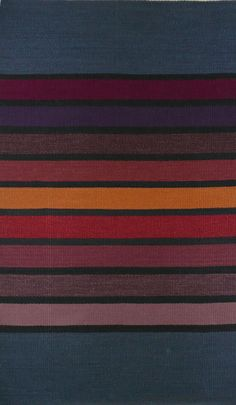 Winter Stripe, hand-dyed wool yarns, handwoven rug, 36.5