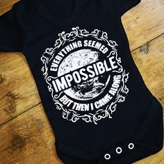 Everything Seemed Impossible Baby Grow from Lulah Blu. Add your own art work and text to a baby grow, we have all sizes from Newborn to 2 years. Baby Grows, Cotton Shorts, All The Colors, Everything, Short Sleeves, Colours, Mens Tops, Fashion, Caricature