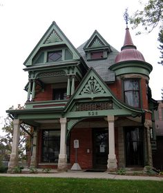 Rogers-Carrier House, Lansing, MI -   Built in 1891 this house is now used by Lansing Community College. In 1982 the house was restored and the turret replaced (the original turret had been removed).