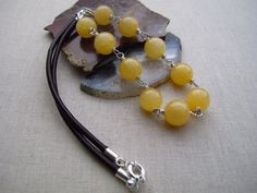 Warm Yellow Aragonite Necklace Gemstone and by TurquoisePearlLLC