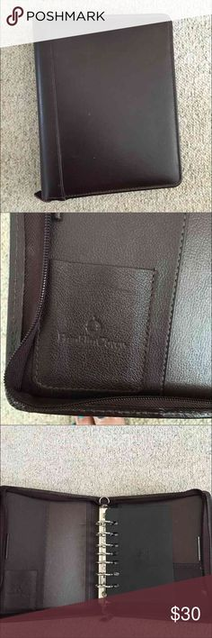 LEATHER Franklin Covey binder/planner New listing! GENUINE  LEATHER Franklin Covey binder/planner. Zip around close, Empty but refillable with FC products. 7 ring binder style. Brown leather. Slight minor discoloration on inside back cover otherwise perfect, gorgeous. Other