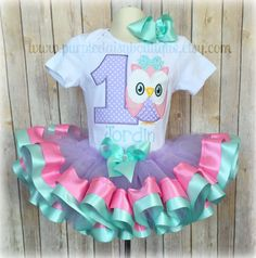 Owl Theme Birthday Double Ribbon Trim Birthday Outfit in Light Purple, Pink, and Teal