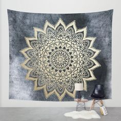 BOHO NIGHTS MANDALA Wall Tapestry by Nika