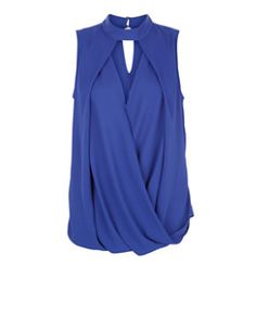 Blue Cut Out Wrap Front Funnel Neck Sleeveless Top  | New Look