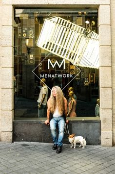 street photography, Maastricht, man, dog, shop window, men at work