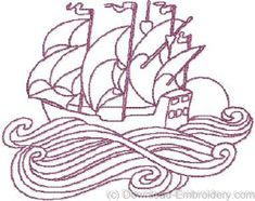 free printable redwork patterns art nouveau ship art nouveau embroidery designs download - Bakers Gonna Bake Kitchen Redwork Embroidery Designs