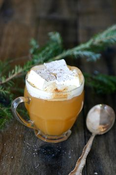 warm apple cider with honey rum marshmallows!