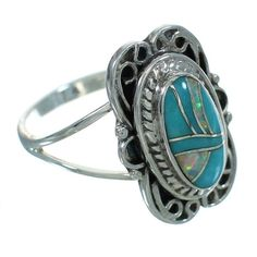 Southwest Turquoise And Opal Sterling Silver Ring Size 6-3/4 www.silvertribe.com