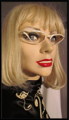SALE Vintage 50s Swank France White Pearl Rhinestone Cat Eye Eyeglasses Frames