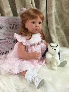 """Lee Middleton Toddler Doll """"Pink Lace & Roses"""" Full Vinyl Limbs in Dolls & Bears, Dolls, By Brand, Company, Character 