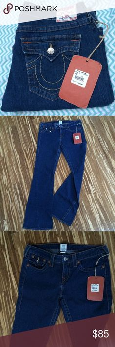 BNWT True Religion Joey flares size 32 BNWT True Religion Joey flare leg jeans in a size 32. Please be familiar with True Religion siding before purchasing, thank you. Color is medium stone-guaranteed 100% authentic True Religion Jeans Flare & Wide Leg