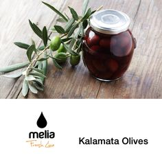 Melia Kalamata Olives.  This unique type of olive derives it's name from the region of Kalamata where it currently grows. The olive fruit has a long shape (Almond), a beautiful black violet color that is obtained on the tree and provides rich flavor and hard texture. These olives are processed by natural fermentation and packed in brine and red vinegar to preserve the crispness. They are selected for their sweetness, their rich flavor and their difference in appearance.