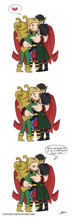 Thor - Loki hug by caycowa