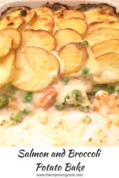Salmon and Broccoli Potato Bake- salmon with green veg in a cheese sauce and topped off with sliced potatoes. Comfort food for cold evenings, perfect all-in one dish, nothing required on the side. # Salmon and Broccoli Potato Bake Baked Salmon Recipes, Fish Recipes, Seafood Recipes, Vegetarian Recipes, Cooking Recipes, Healthy Recipes, Tasty Potato Recipes, Recipies, Sausage Recipes