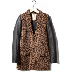 Pull & Bear Leopard Print Coat ($65) ❤ liked on Polyvore