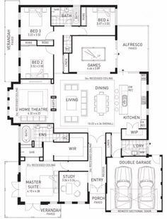 Floor Plan Friday: Kids at the back, parents at the front! - Floor Plans - Floor Plan Friday: Kids at the back, parents at the front! Family House Plans, Dream House Plans, House Floor Plans, Home And Family, Four Bedroom House Plans, Bedroom Floor Plans, Family Homes, Dream Houses, Luxury Floor Plans