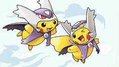Pikachu dressed as Latias and Latios