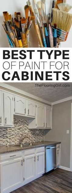 Best types of paint for kitchen cabinets and how to paint cabinets the RIGHT way. The RIGHT way to paint kitchen cabinets and how to do it yourself. The right method, right tools and best paint for DIY painted cabinets. Built In Cabinets, White Kitchen Cabinets, Kitchen Paint, Home Decor Kitchen, Rustic Kitchen, Kitchen Furniture, New Kitchen, Kitchen Ideas, Rustic Cabinets