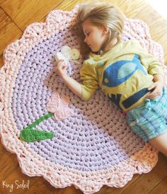 Crochet Rug Garden Purple Gingham and Pink Tulip Butterfly Nursery Children Cotton Rug as Featured in Inside Crochet Magazine.
