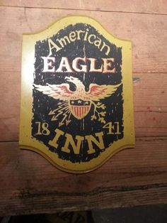 Primitive Colonial Tavern Sign American Eagle Inn 1841   eBay