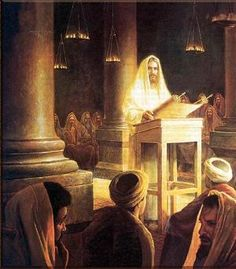 Jesus Teaches in the Synagogue.