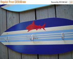 HOLIDAY SALE 27 inch SHARK Surfboard HoOk RaCk for towels clothes keys .  Red Blue Hawaiian Surf Wall Decor. Custom Painted. 150 Designs 3 s by SundayTreasures on Etsy