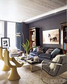 I want a hand chair. Eclectic glam living room of Ashley Stark Beautiful blues, grays, & metallics. Love the gray washed ceiling. Glam Living Room, Design Living Room, Home And Living, Living Room Decor, Living Spaces, Living Rooms, Small Living, Apartment Living, Bedroom Decor