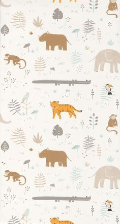 Animals blue beige beige childrens wallpaper - Happy Dreams by Casadéco Nursery Wallpaper, Kids Wallpaper, Animal Wallpaper, Kids Prints, Baby Prints, Baby Room Wall Decals, Safari Nursery, Safari Animals, Digital Pattern