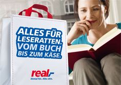 Kunde: real,- Warenhaus - Kampagne - Text Advertising, Ads, Commercial, Reusable Tote Bags, Word Reading