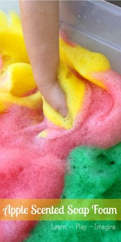 Apple scented soap foam in yummy scents and colors!  Kids of all ages will love this sensory activity.