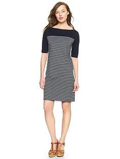 Stripes + Sleeves = <3 | Gap  Pair with riding boots or chunky red heels + brown belt