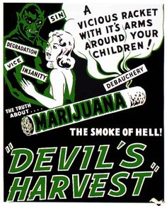 Marijuana Devils Harvest Vintage Movie Poster Canvas Print by Retro Movie Posters & Propaganda Art on Pulp Fiction, Vintage Movies, Vintage Posters, Funny Vintage Ads, Funny Ads, Hilarious, Vintage Art, 1950s Posters, Vintage Menu
