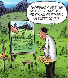 Another picture ruined by me sticking my finger in front of it art humor cartoon