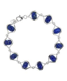 Loving this Lapis & Sterling Silver Openwork Marquise-Cut Bracelet on #zulily! #zulilyfinds