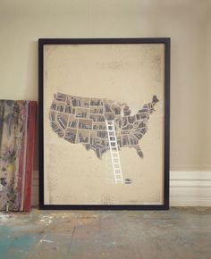 "Continental (Book) Shelf - 18"" x 24"" Handpulled, Handprinted, Silkscreen Art Print. $30.00, via Etsy."