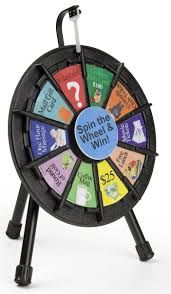 This mini prize wheel is the smallest gaming fixture currently offered. This custom wheel has ten empty sections in which to add rewards or questions!