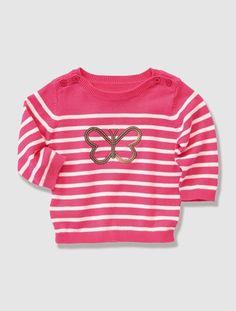 #Jersey de #punto con #estampado #marinero  a #rayas de color #rosa #fresa de #bebé #niña #mariposa