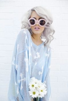 Silver Hair fashion cute hair girl hipster white gray style model silver fad hip trend