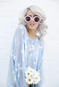 Silver Hair fashion cute hair girl hipster white gray style model silver fad hip trend