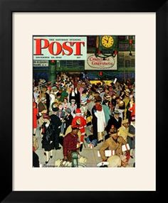"""""""Union Train Station, Chicago, Christmas"""" Saturday Evening Post Cover, December 23,1944 Giclee Print by Norman Rockwell at Art.com"""