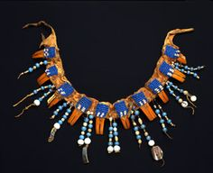Crow Necklace. ca. 1830 - 1860 | Abalone, beads, Beaver teeth, glass, buffalo hide, weasel fur