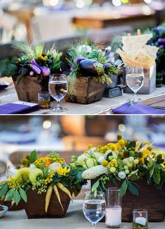 Veggie-Floral really brings home rustic elegance. Great idea for a farm to table theme party or in this case vineyard wedding.