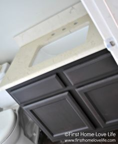 just replace vanity top. consider for both bathrooms to inexpensively get rid of the sea shell sinks! Bathroom Sink Vanity, Bathroom Stuff, Sinks, Master Bathroom, Bathroom Ideas, Basement Inspiration, Bathroom Renovations, Remodled Bathrooms, Bathroom Updates