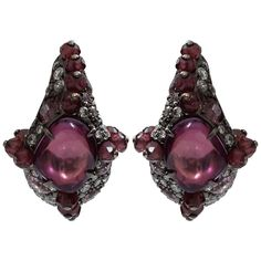 Arunashi Pink Sapphire And Rhodolite Garnet Earrings ($19,200) ❤ liked on Polyvore featuring jewelry, earrings, 18 karat gold earrings, pink sapphire earrings, arunashi, 18k earrings and earrings jewelry