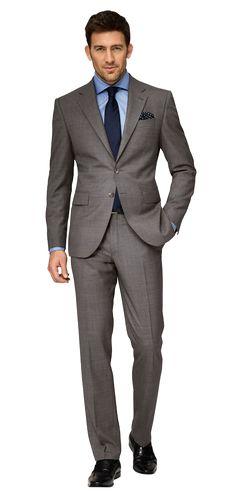 Dolzer Man Grauer Anzug mit blauem Hemd