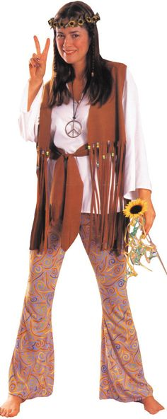 Women's Costume: Hippie Love ChildWhite shirt, bell bottom pants, and fringed vest with matching waist sash. Fits most women up to size 12. Headband and necklace not included. Polyester.Size: OSFMAge:                                                                                                                                                                                 More